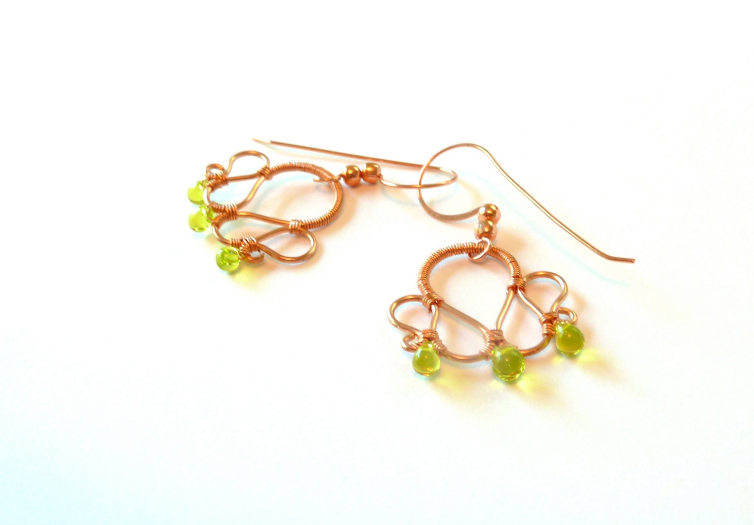 Copper Wire Wrapped Chartreuse Dangle Earrings - CorkyWhites