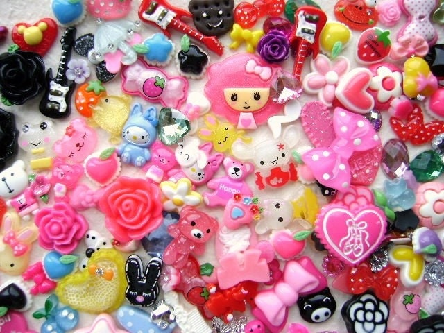WHOLESALE Cute Japanese 200 Cabochons And Charms BIG Set Mix SPECIAL PACK 3
