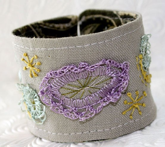 Hand Embroidery Linen Wrist Cuff Abstract Geometry Cuff Handmade khaki