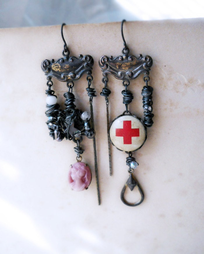 Chandelier Earrings - Rustic Beaded Earrings - Red Cross, Cameo, Labradorite, Crystal, Pearl, Chain - Red Cross Assemblage Earrings