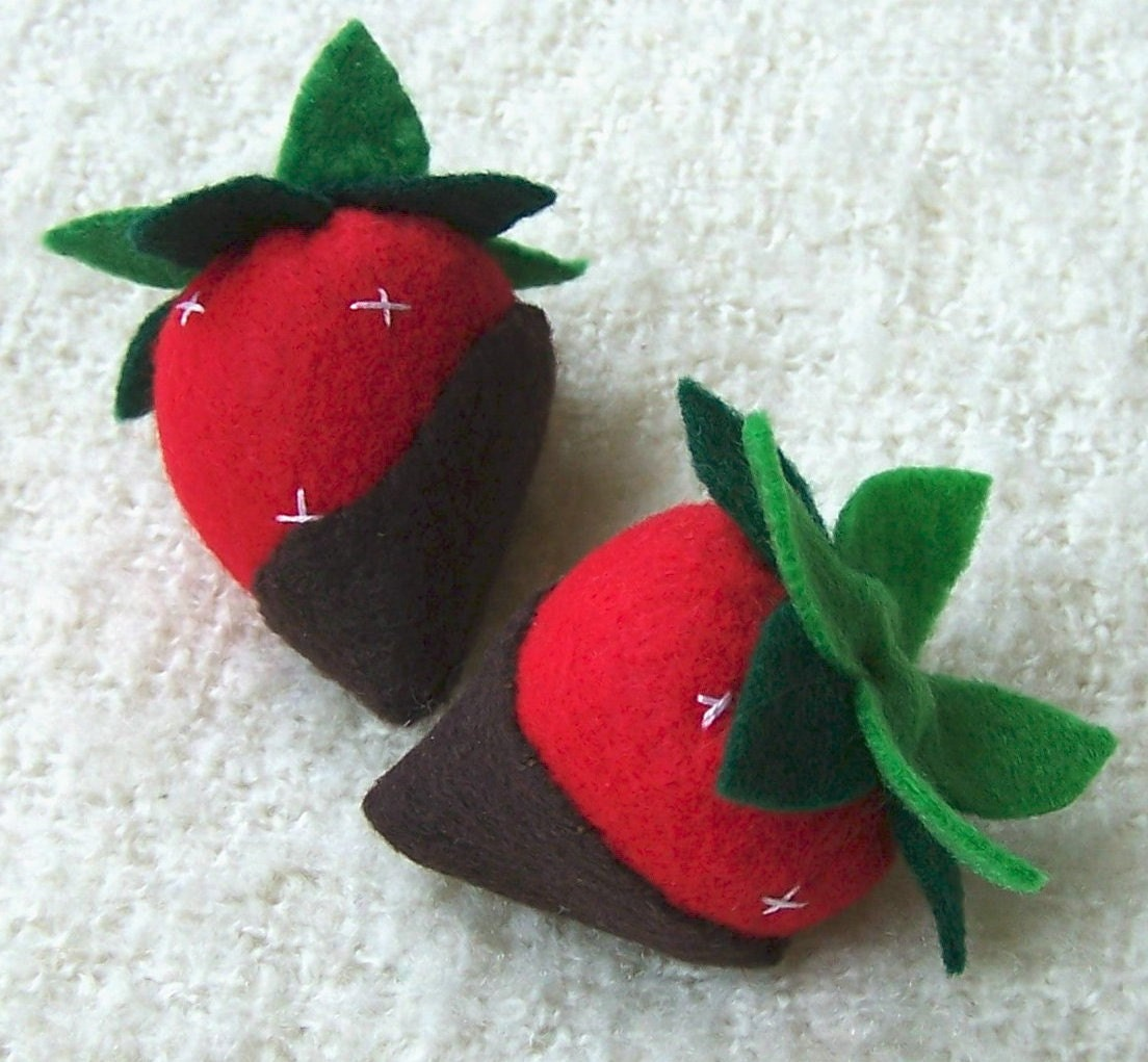 Felt Play Food - Chocolate Covered Ripe Red Strawberries