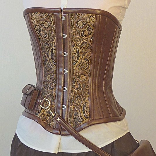 Custom Steampunk utility corset, bronze Neo-Victorian coutil steel boning