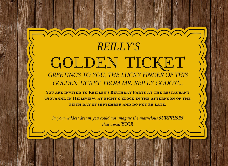 Colorful Golden Ticket Wedding Invitations Ensign - Invitation Card ...