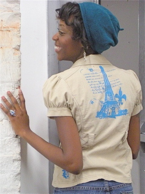 Tan Belted Ladies Upcycled Shirt Screen Printed with Turquoise Eiffel Tower and Fleur-de-lis