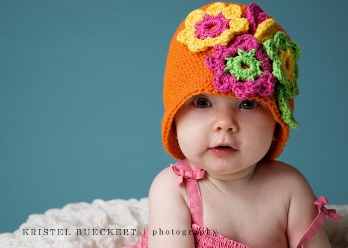 THE MARLIE Crocheted Cloche Size 6-12 Months Hot Orange Yellow Hot Pink Lime