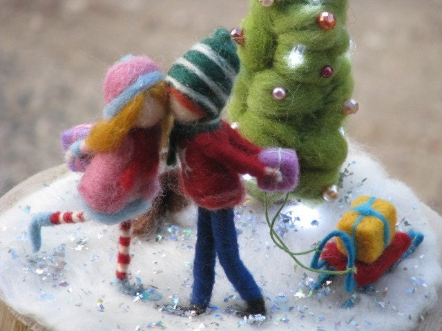 A christmas love lamp, needle felted