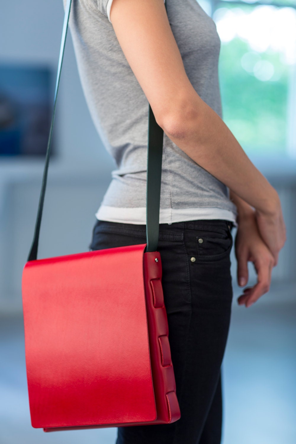SALE - Red Leather Bag - Cleaneverything