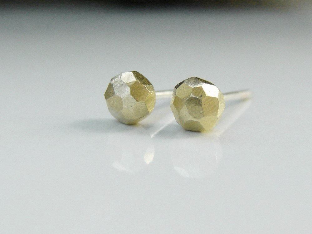 Tiny Stud Earrings Faceted Gold Tone Brass Nuggets By Mitzmetals