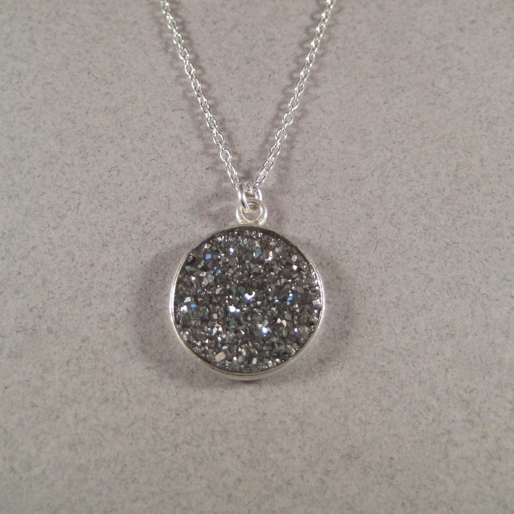 Silver Druzy Necklace, Druzy Pendant Necklace, Sterling Silver Necklace, Metallic Gray Druzy - juliegarland