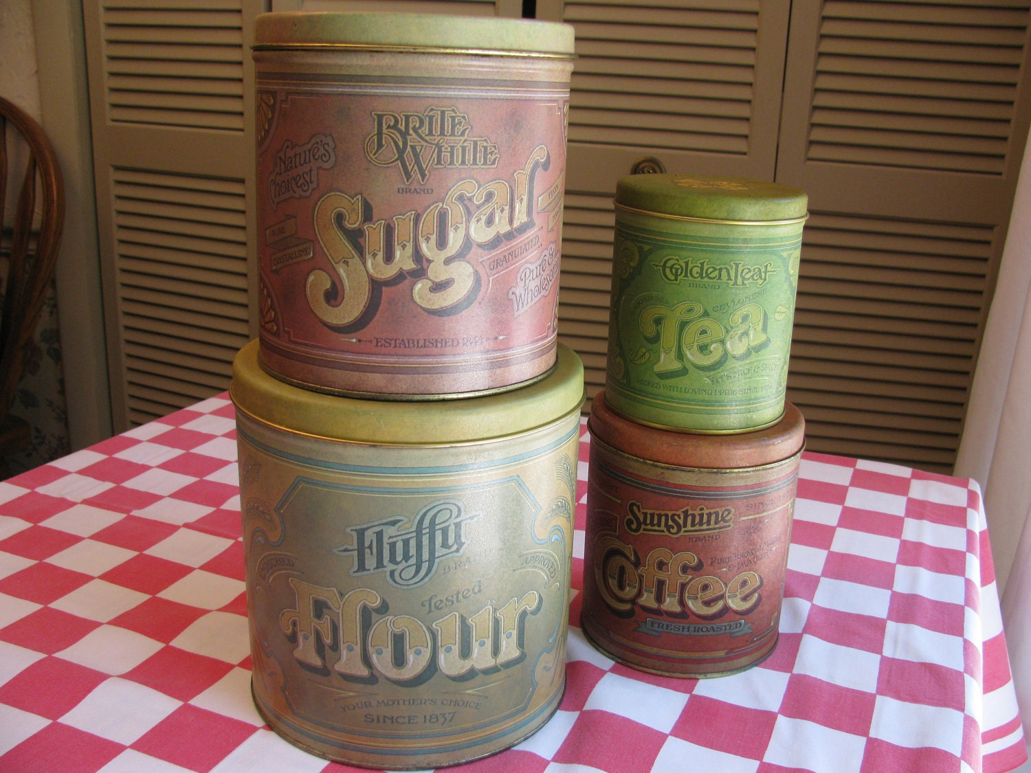 tin kitchen canister set fluffy flour advertising by gaelianna