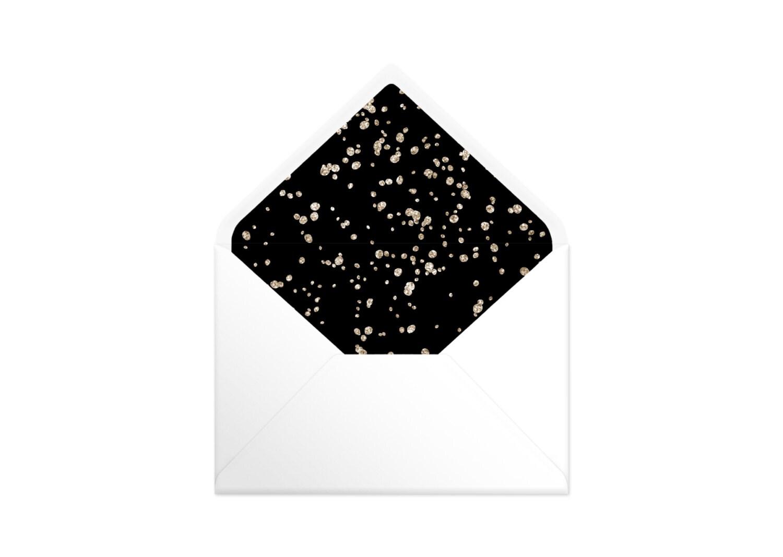 Printable Envelope Liner  Black With Gold Spots. 9 Sizes. Envelope Template DIY Wedding Printable Invitation