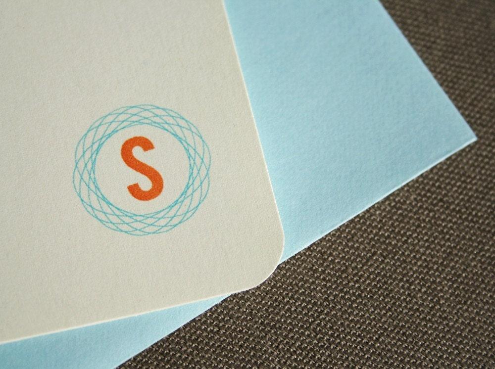 Custom Monogram Stationery Set (Mango and Turquoise)