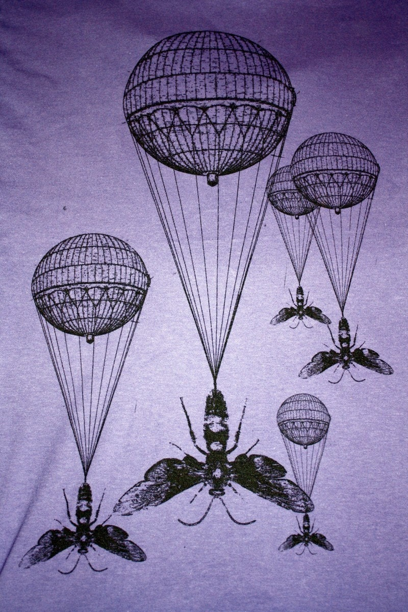Steampunk Hot Air Balloon Insect Purple T-Shirt - American Apparel Amethyst - Free Shipping - Available in XS, S, M, L, XL and XXL