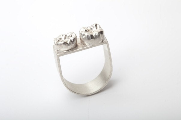 Sterling Silver and Two Cast Human Teeth Ring