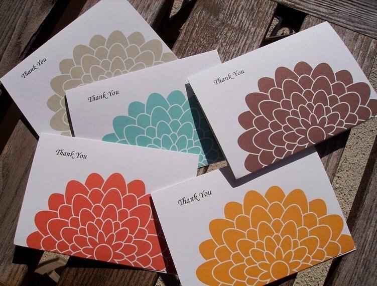 Fall Thank You Card Set - Fall Mums, Orange Aqua Blue Brown Light Sage Green Golden Yellow - twin2kim