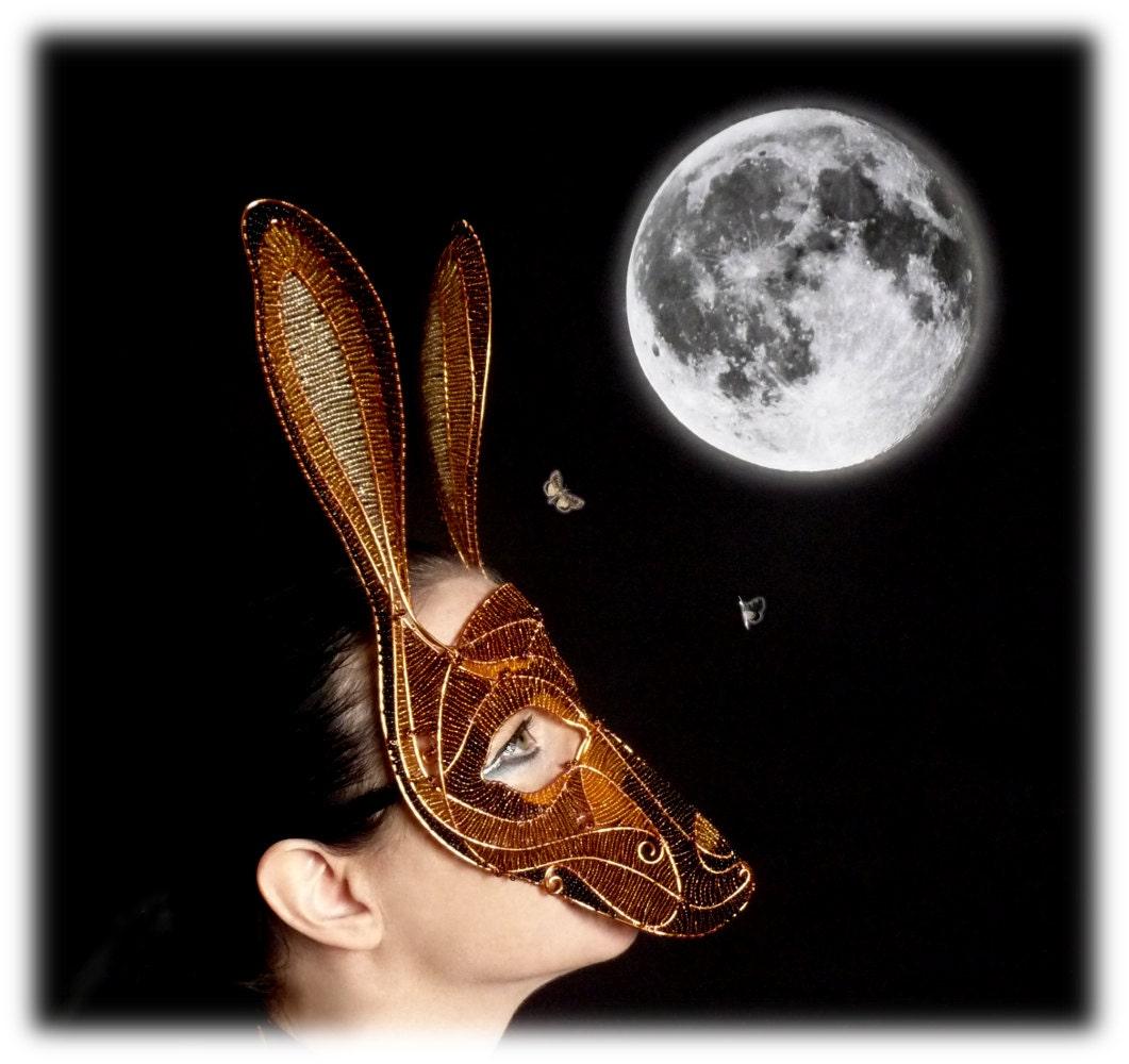 Hare masquerade mask, womens, costume, accessories, halloween, mardi gras - gringrimaceandsqueak