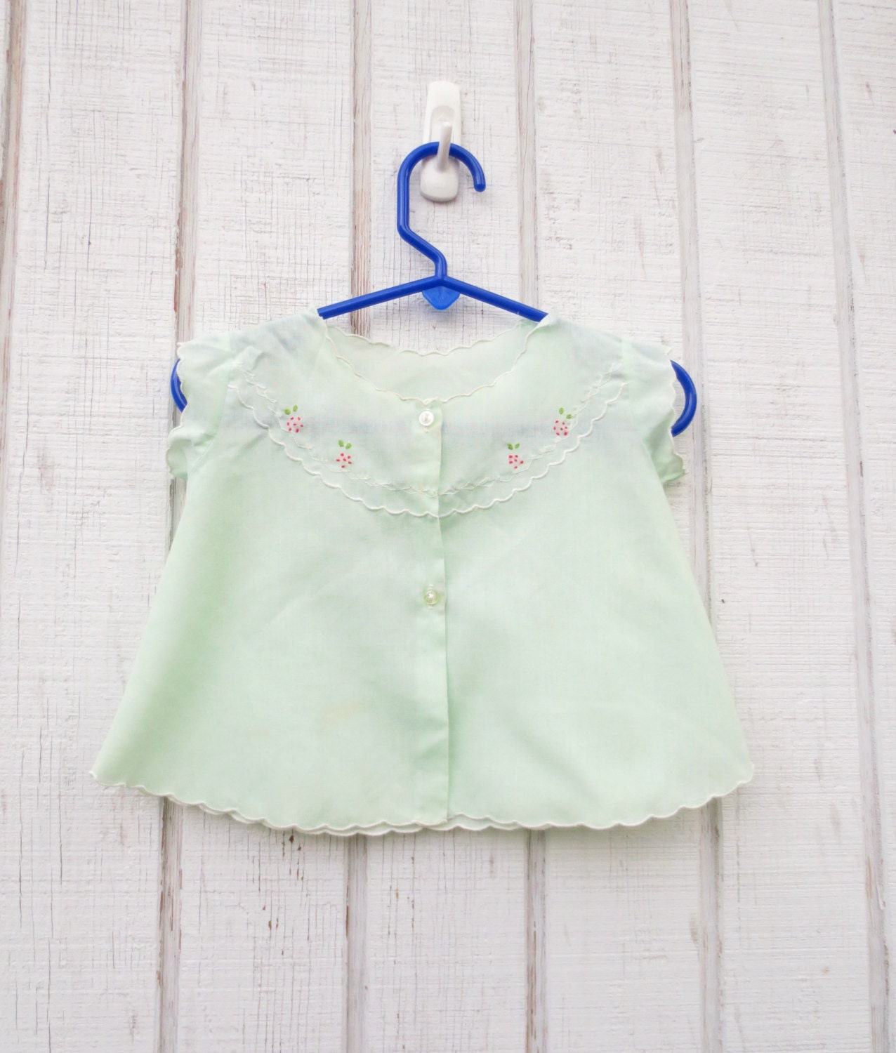 vintage baby clothes mint green new born to 8 months by