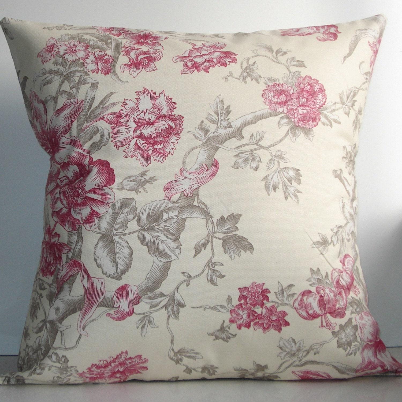 New 18x18 inch Designer Handmade Pillow Cases. Contemporary designer fabric in cream and pink floral. Pillow Case, Cushion Cover, Pillow Cover, Pillow.