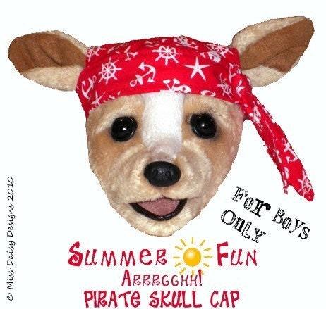 Boy Dog Board Shorts Tank Pirate Skull Cap Sewing Pattern Size M Pdf