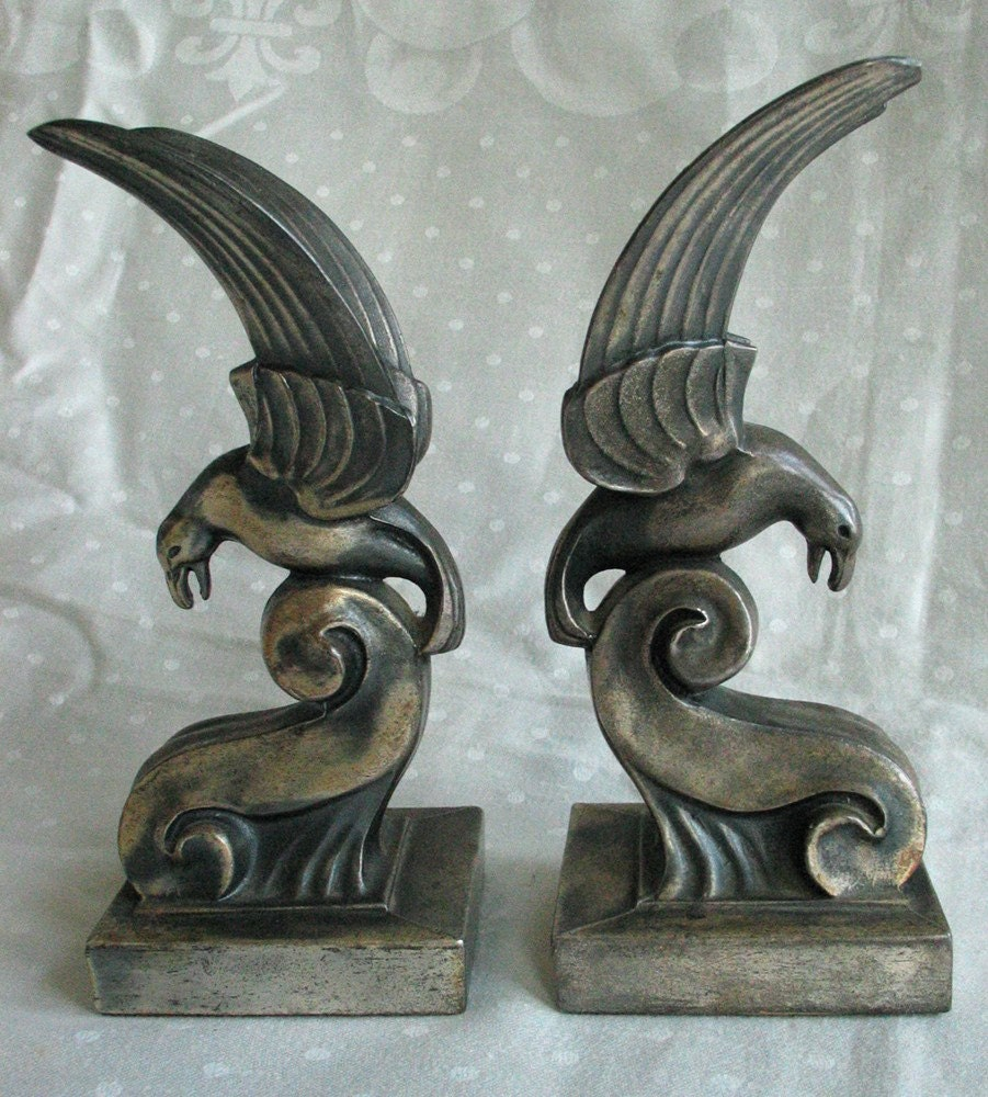 Vintage Art Deco Bird Bookends C 1930 Machine By Groovygirl60