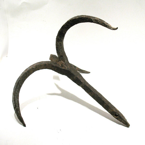 Antique Grapple Hook Hand Forged Primitive Iron Hook