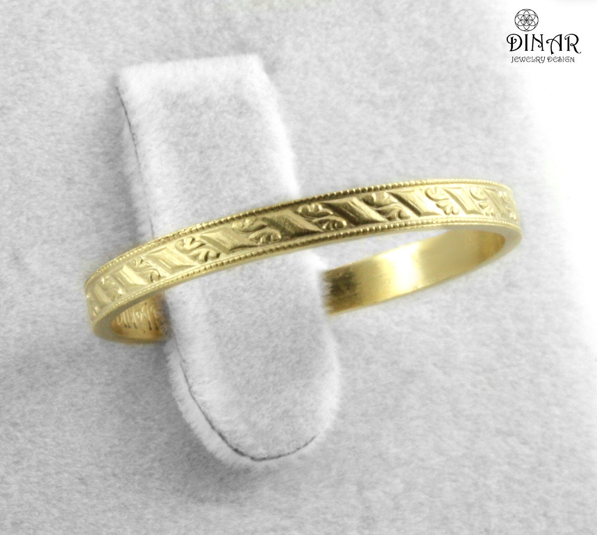 14k gold stacking ring thin wedding band by dinarjewelry