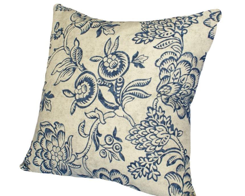 Blue Floral Pillows Indigo Vintage Decor by PillowThrowDecor