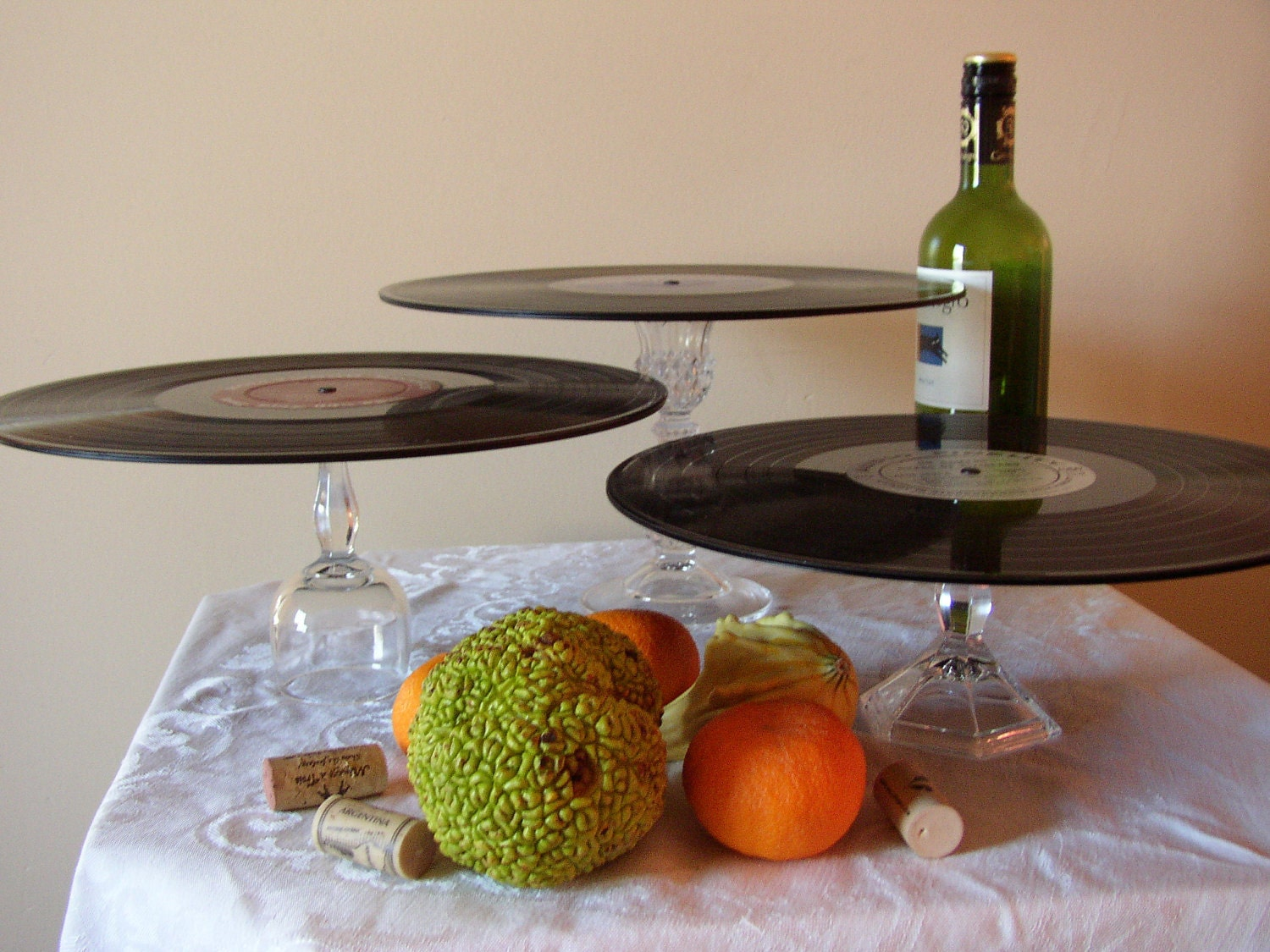 "Pedestal Cake Stand 12""-Motown, recycled records-Eco Friendly Functional Art"