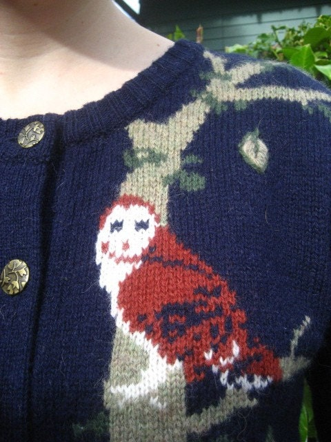 Amazing Forest Cardigan Sweater with Woodland Creatures and Plants