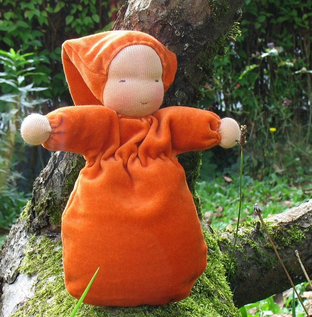 Pumpkin Velvet Bunting Doll according to waldorf pedagogy