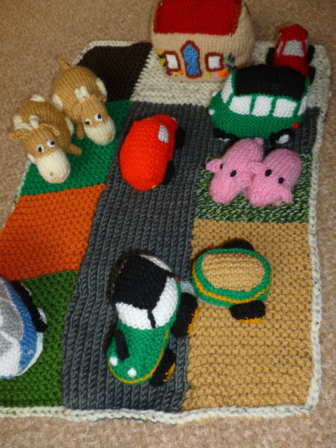 Farm road playmat with vehicles
