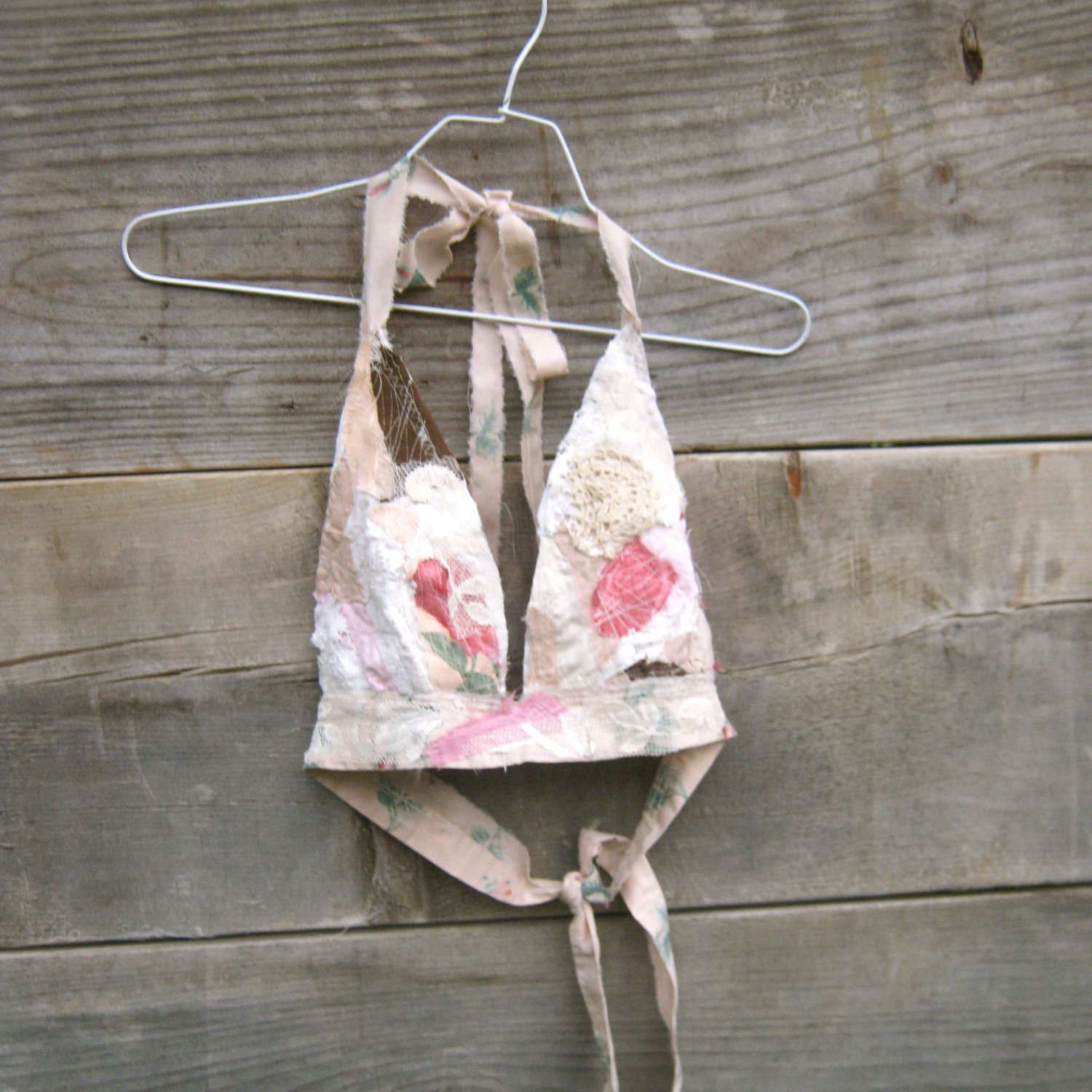 romantic Tattered Funky Eco Beach Bandeau Halter / by CreoleSha from etsy.com