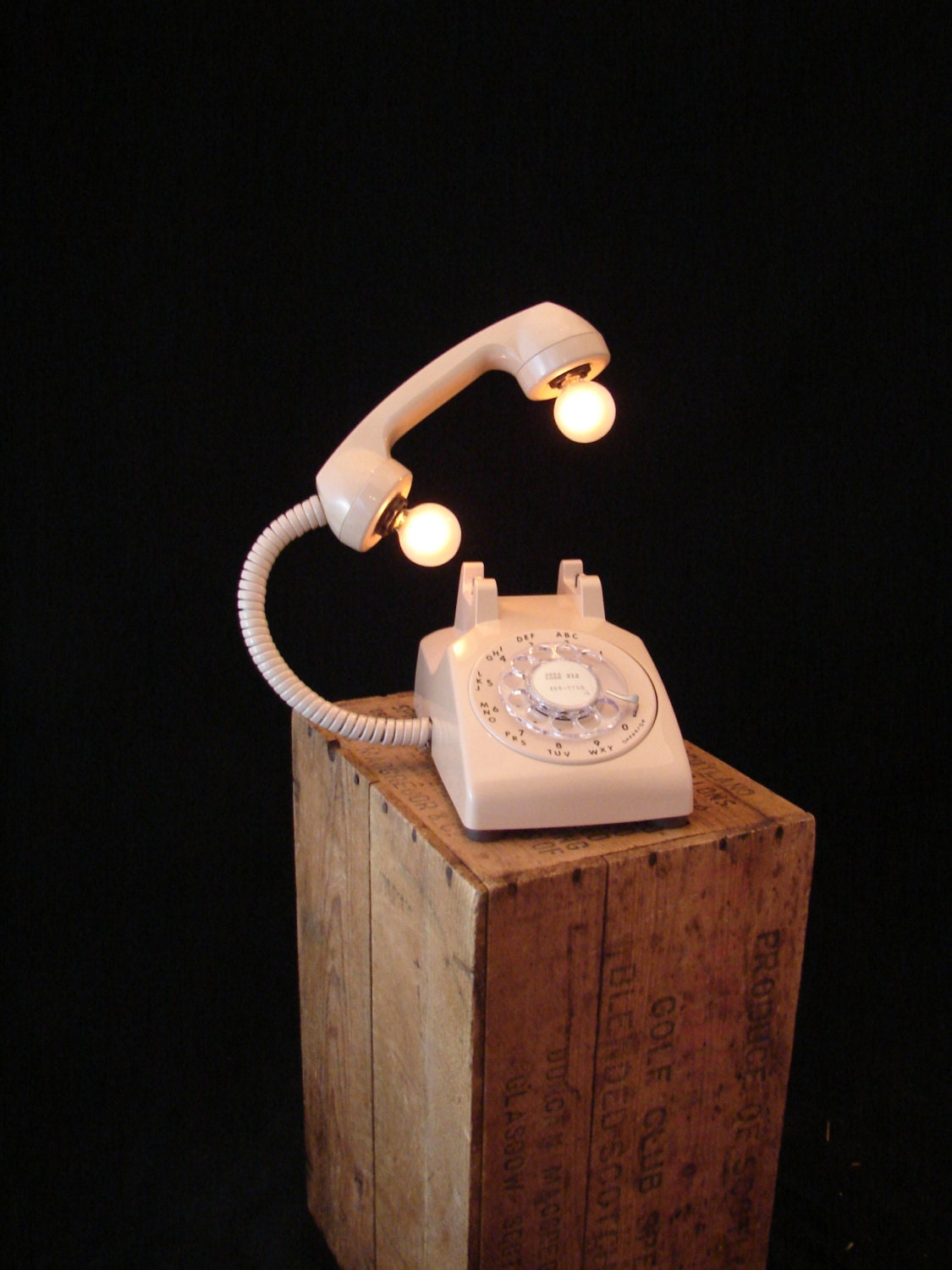 Upcycled Vintage Beige Rotary Telephone Lamp