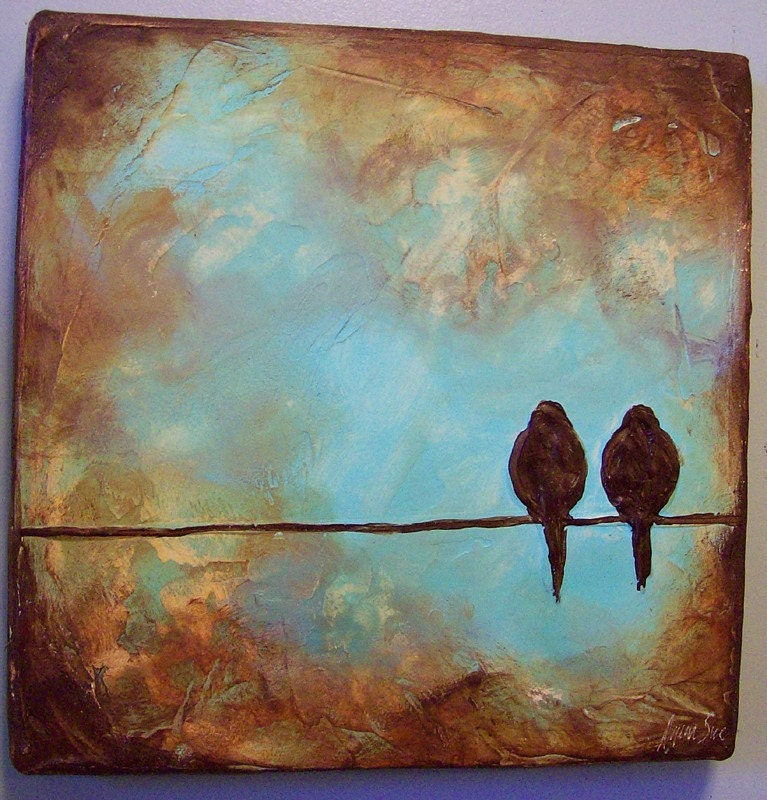 Handmade Art on Etsy - Custom Bird on a Wire Sculpted Painting - 12 x 12 x 1.5 inches deep by EarthArt