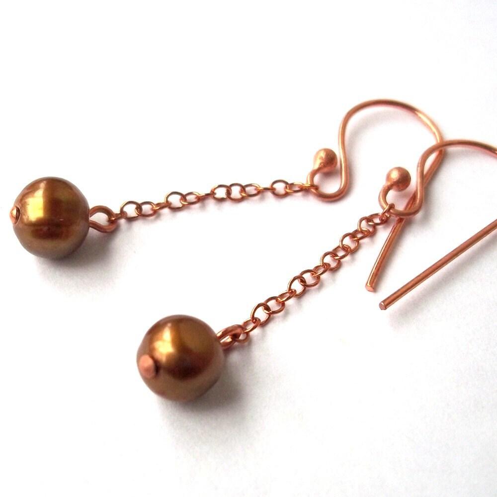 Copper Dangle Earrings - Fresh Water Gold Pearl
