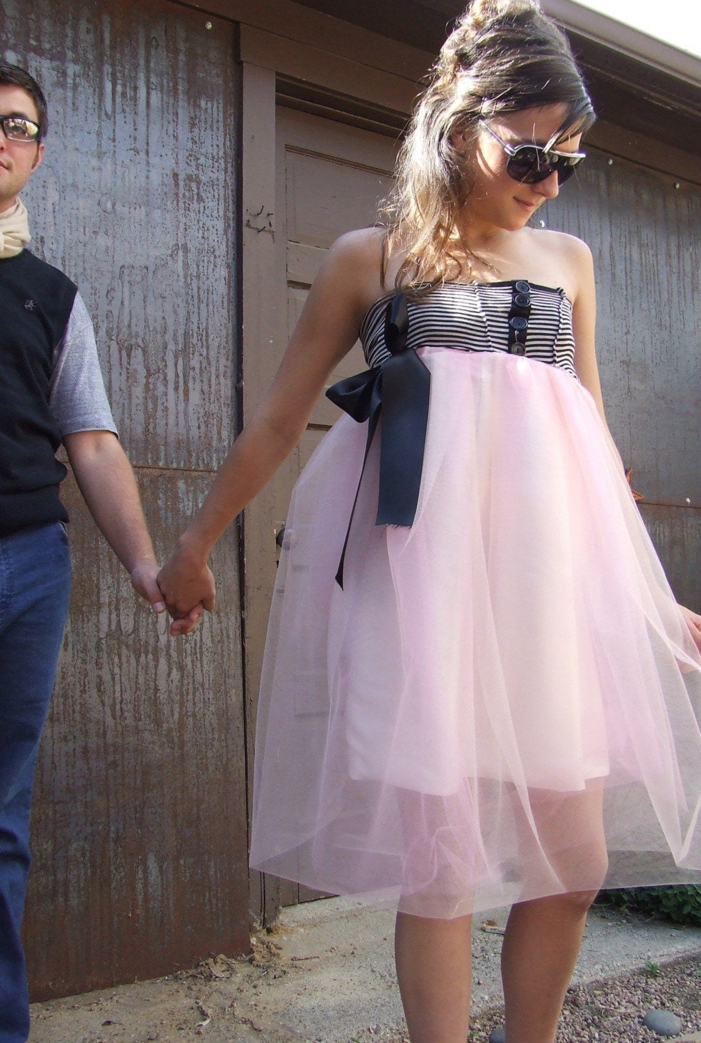 SPECIAL SAMPLE PRICE - Tutu Strapless Bubble Party Dress - Black, White Sailor Style Top and Pink Tulle Tutu Bottom