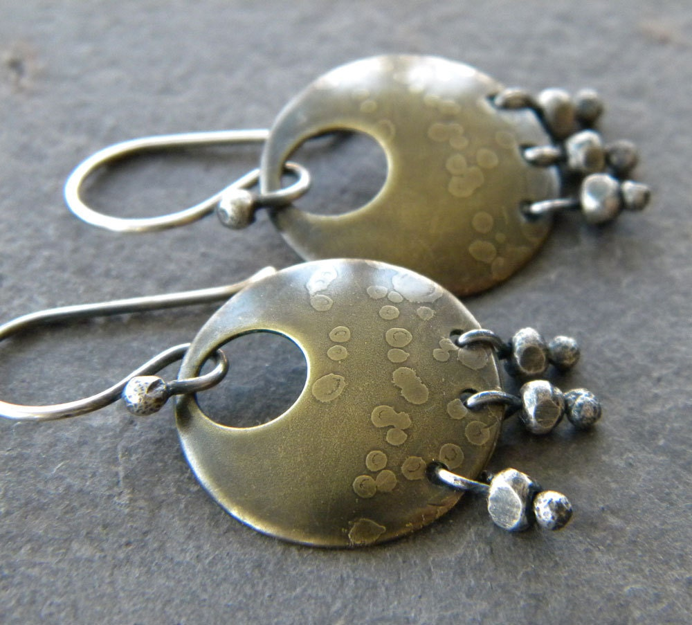 earrings. brass discs, sterling silver nuggets, etched dot pattern, oxidized
