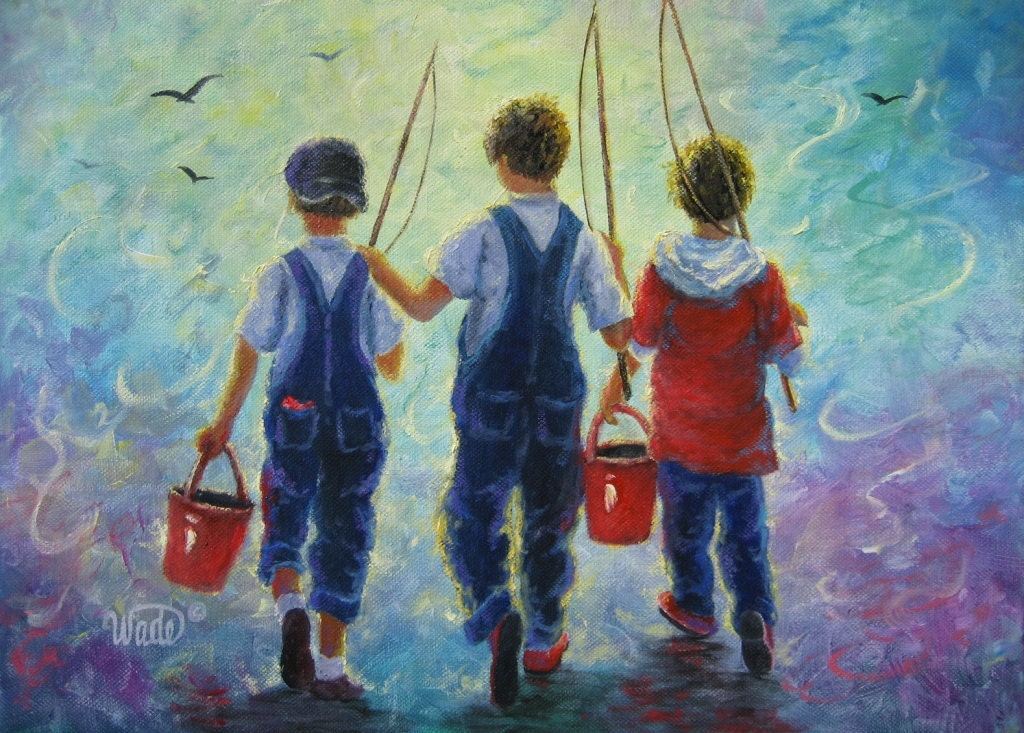 three brothers fishing print art three boys by