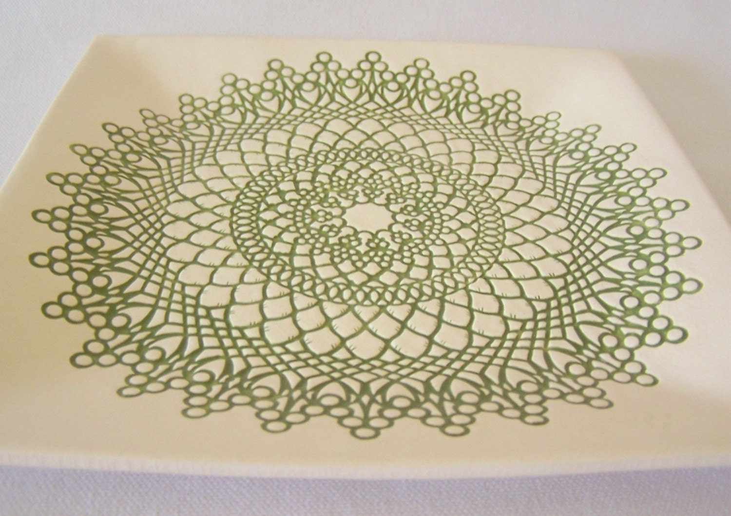 Hand Built Square Doily Dish