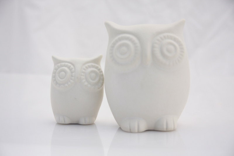 ceramic owl figurines two owl and owlet