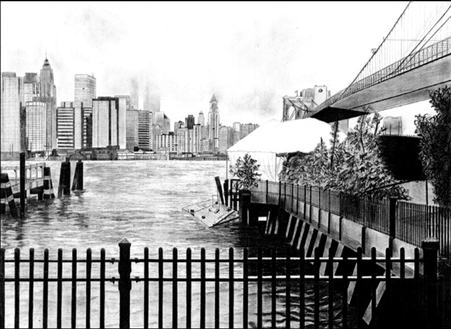city skyline drawing. New York City Skyline pencil drawing - Matte Print 12x12