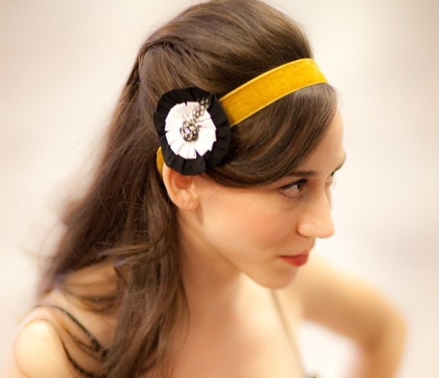 black and white flower with rhinestone rose hair clip