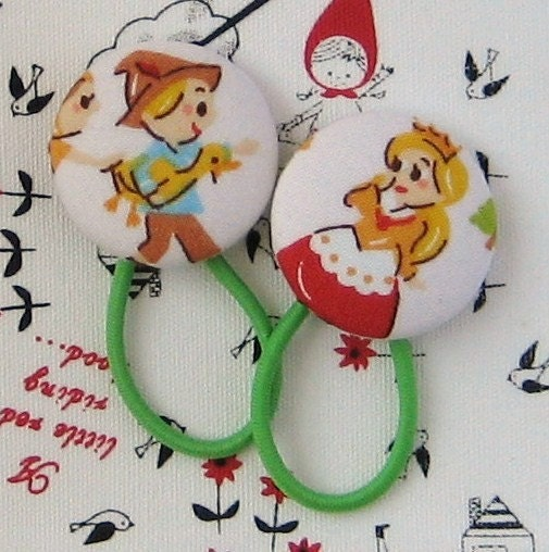 ponytail holders and sew on fabric buttons by onceuponabutton from onceuponabutton.etsy.com