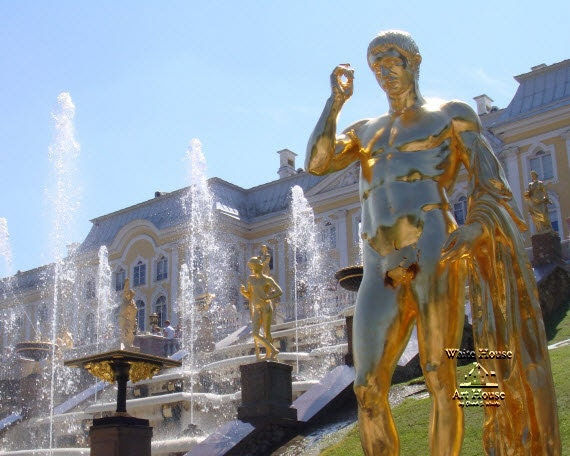 Water Fountains and Golden Statues - Peterhof Palace's Grand Cascade - St. Petersburg, Russia - Travel Photo / canvas wraps available