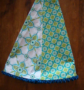 Aqua and green christmas tree skirt by thehouseofsmith on etsy