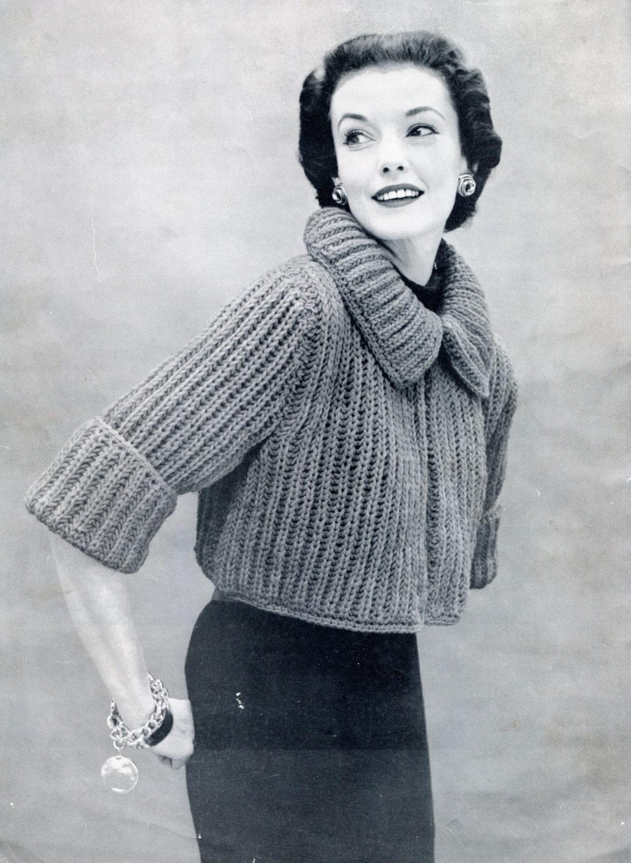 Knitting Pattern For Shrug Sweater : 1950s Stylish Knit Sweater Pattern Bolero or by PearlShoreCat
