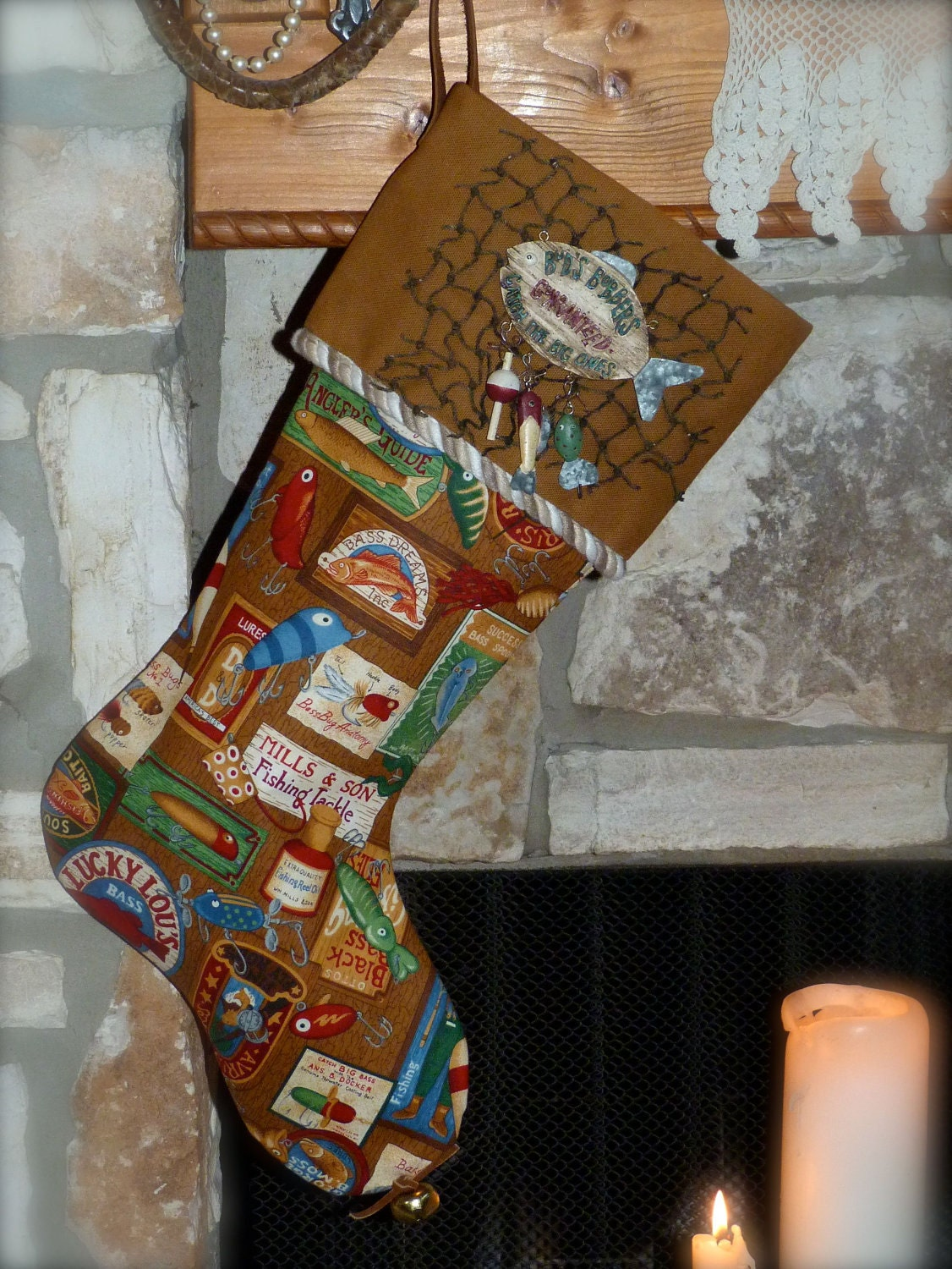 Bud 39 s bobbers the fishing christmas stocking by shabbyranch for Fish christmas stocking