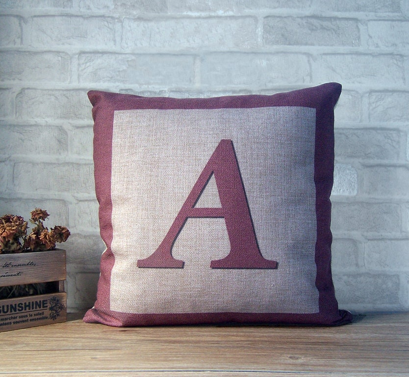 Letter A Throw Pillow : Alphabet letter throw pillow case linen pillow with by Ideccor