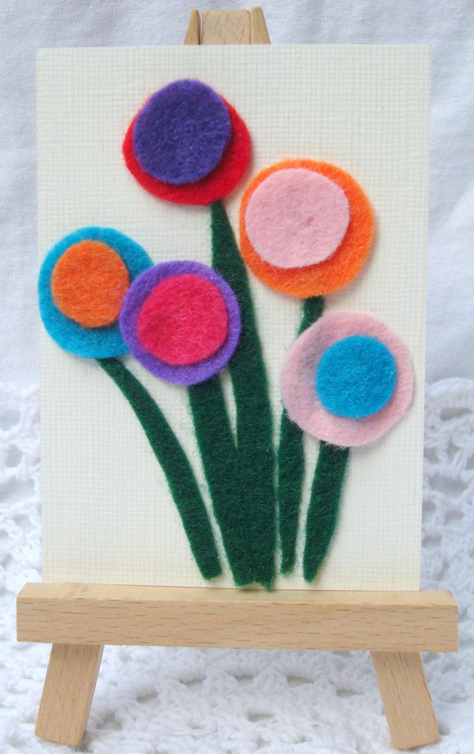 ACEO Felt Flowers Colorful Abstract Original Art