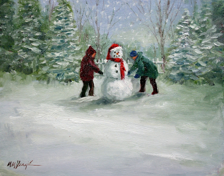 Childern Making a Snowman